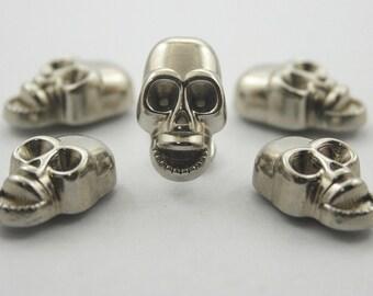 5 pcs. Silver Zinc Skull Head Rivets Studs Decorations Findings. KRSKN1119