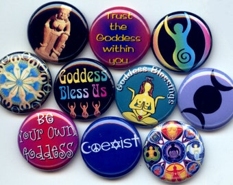 "GODDESS Mother Earth Wicca 10 Pinback 1"" Buttons Badges Pins"