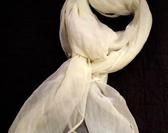 Light and Soft White Chiffon Scarf