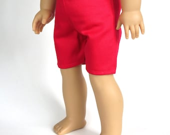 Fits Like American Girl Doll Clothes.  18-Inch Boy Doll Shorts.  Red Shorts.