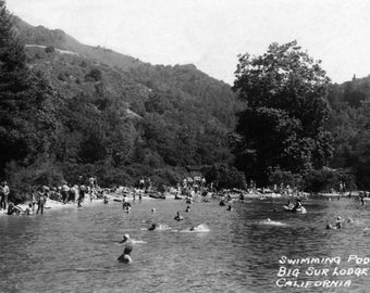 Big Sur, California - Big Sur Lodge and Swimming Pool - Vintage Photograph (Art Print - Multiple Sizes Available)