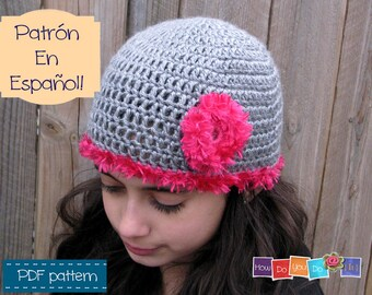 Gorro Juvenil Flor , Spanish Pattern For Hat , Patrón en Español , Español Tutorial , Patrón de Crochet PDF , Tamaño juvenil, Photo Tutorial