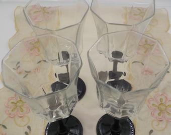 Vintage Set of 4 Wine Glasses - Goblets - Octagon Shape -  Black stems - Chic - Paris Apt - Made in France