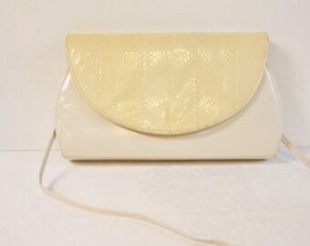 Vintage Leather Purse with snakeskin flap - cream color Handbag