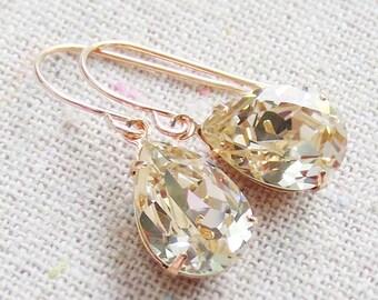 Swarovski Crystal Champagne Teardrop Simple Delicate Dangling Rose Gold Bridal Earrings Wedding Jewelry Bridesmaids Gifts