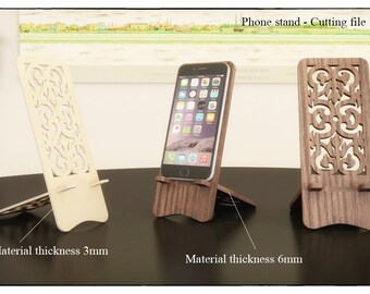 PHONE STAND - Laser cutting template plans -  wooden iphone stand - cell phone - cutting file cnc - smartphone stand Docking Station