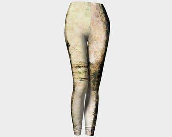 Unisex Yoga Leggings/Leggings/Yoga Pants /Unisex Clothes/Workout Leggings Brown and Gray Pants Wearable Art EcoFriendly Printed Leggings