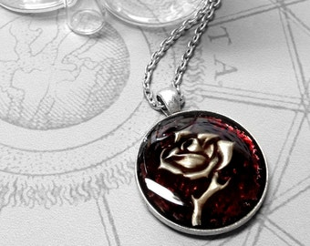 Plum Single Rose : hand embossed repoussé metal pendant necklace