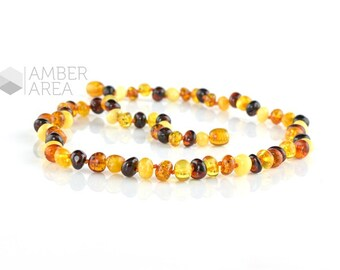 Baltic amber necklace, Multicolor amber beads, Natural amber, Amber jewelry, Adults necklace, 45 cm long, 5944