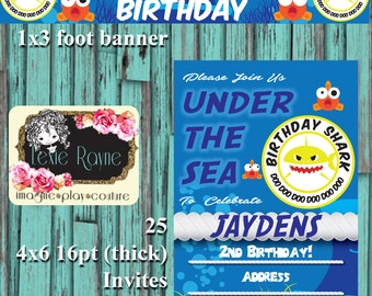 Baby Shark Birthday Package, Baby Shark Birthday Invitation, Baby Shark Birthday Decoration, Baby Shark, Birthday Shark, Birthday Banner