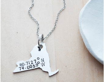New York Coordinates Necklace - Custom Coordinates on Your State - Aluminum NYC Hand Stamped Necklace - State Pride - New York City
