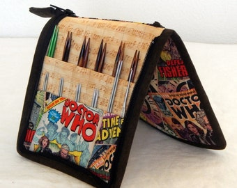 24 pair capacity Interchangeable and DPN knitting needle and crochet hook keeper case sized to hold up to US 11 Dr. Who, Tardis