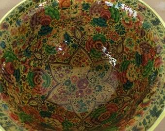 Antique kashmir handmade handpainted papier machie fruit bowl