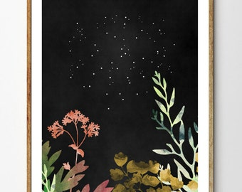 Midnight Forest - Botanical Print, Floral Art, Forest Print, Watercolor Flowers, Leaf Print, Forest Nursery, Starry Sky, Nature Art