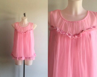 Vintage Pink Baby Doll, Pink Baby Doll, Baby Doll Nightgown, Short Nightgown, Queentex, 1960s Baby Doll Nightgown