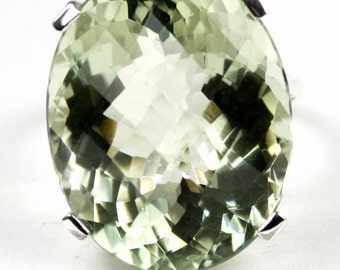 Green Amethyst, 925 Sterling Silver Ring, SR129