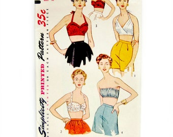 Misses Set of Bra Tops / Sweetheart Neckline Halter Top / Rockabilly Style / 1950s Vintage Sewing Pattern /Simplicity 4333 / Size 12 Bust 30