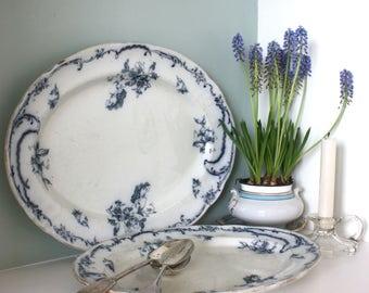 Antique Victorian Doulton Burslem Rococa large floral serving platter
