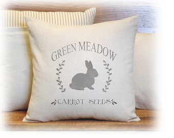 Spring Pillow, Bunny Pillow, Carrot, Pillow Cover