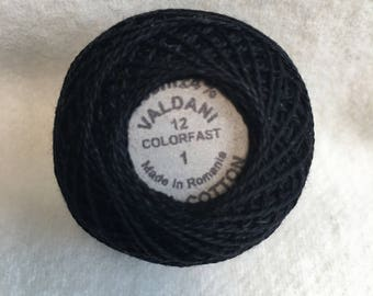 Valdani Thread Color No 1 Black Dyed, 12 Pearl Cotton Hand Dyed