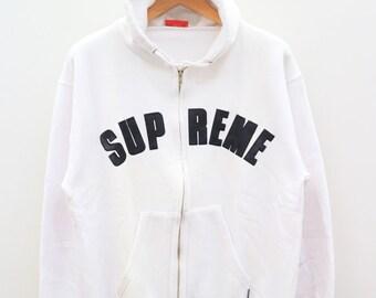 Vintage SUPREME Big Spell Streetswear White Hoodies Sweater Sweatshirt