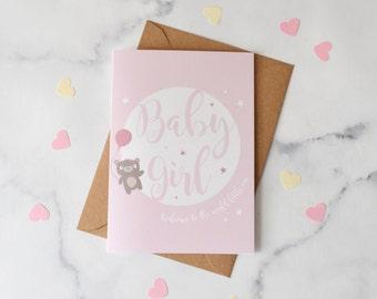 New Baby Girl Bear Card
