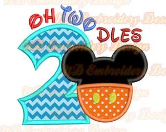 OH TWODLES Mickey Hose Maus Ohren Stickerei Applikation Design, ms-153