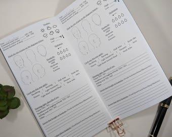 Headache or Migraine Tracker Standard sized TN Insert Traveler's Notebook Insert Fountain Pen Friendly Paper