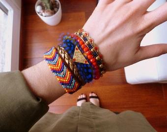 Multi strand Style Aztec Cuff Bracelet