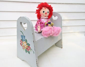 Vintage Wood Stool | Wooden Seat | Wooden Bench | Wood Step Stool with Handles | Heart Cut Outs | Wood Footstool | Kids Bench