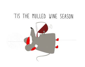 Christmas card mulled wine season