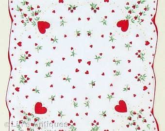 Vintage Valentine Hanky with Red Hearts White Flowers Green Leaves (Inventory #M2860)