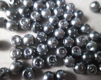 x 20 mother of Pearl dark gray glass pearls 4 mm