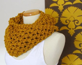 Lace knit infinity scarf in mustard