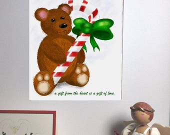 A Gift From The Heart - Teddy Bear with Candy Cane Downloadable Festive Christmas Print
