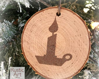 HAMMERED GRAY Christmas Candle Rustic Ornament | Reclaimed Wood Christmas Ornament | Hostess Gift