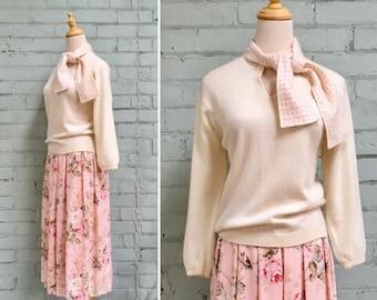 1960s cream cashmere sweater / 60s Holt Renfrew pullover sweater / 1960s pink polka dot sweater
