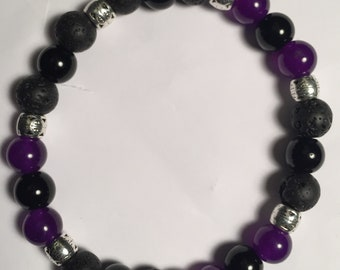 Purple Jade/Tourmaline/Lava Stones Bracelet