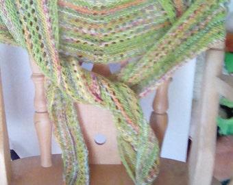 Beautiful handknit scarf shawlette in guacamole green.