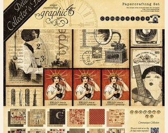 Graphic 45, Communique, Deluxe Collector's Edition, Scrapbook Paper, Communication, Vintage