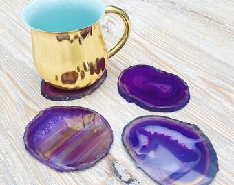 Purple Agate Drinks Coaster. Agate Slice. Boho Decor.