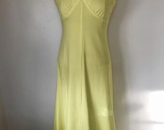 butter yellow maxi dress with accents vintage sz med