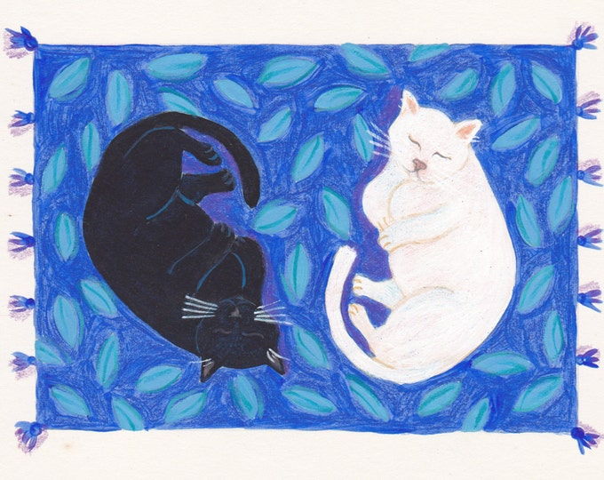 Yin Yang cats blank greeting card