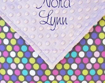 Baby Name Blanket. Monogram Baby Blanket. for Baby Girls. Newborn Baby Girl Gift. Embroidered Minky Blanket. Purple Nursery, 30x36