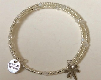 Someone special & Dragonfly crystal beaded charm memory wire bracelet