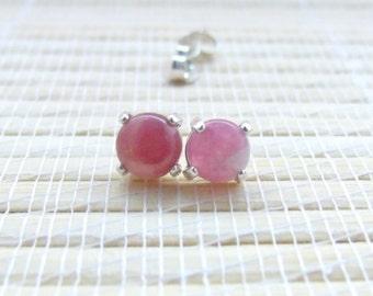 Pink Tourmaline Stud Earrings Sterling Silver October Birthstone 6mm