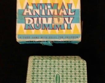 Animal Rummy! Vintage 1950's children's card game!