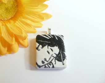 Asian Face Pendant, Oriental Woman, Japanese Woman, Optional Chain Necklace, Black and White Jewelry, handmade polymer clay