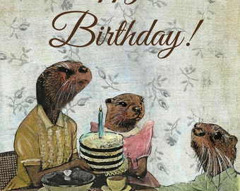 Otter Birthday Card | Anthropomorphic Otters | Unique Otter Family Art | Rodent Birthday Card | Fancy Animals | Dressed Up Retro Otter Art
