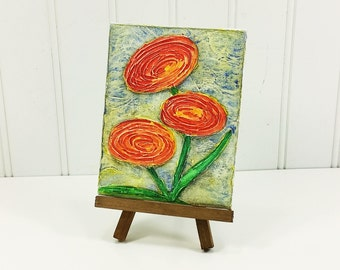 Whimsical Poppies, Red Orange Poppy Summer Garden Bouquet Textured Watercolor